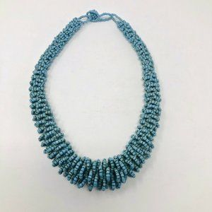 FauxTurquoise Seed Beaded Statement Necklace